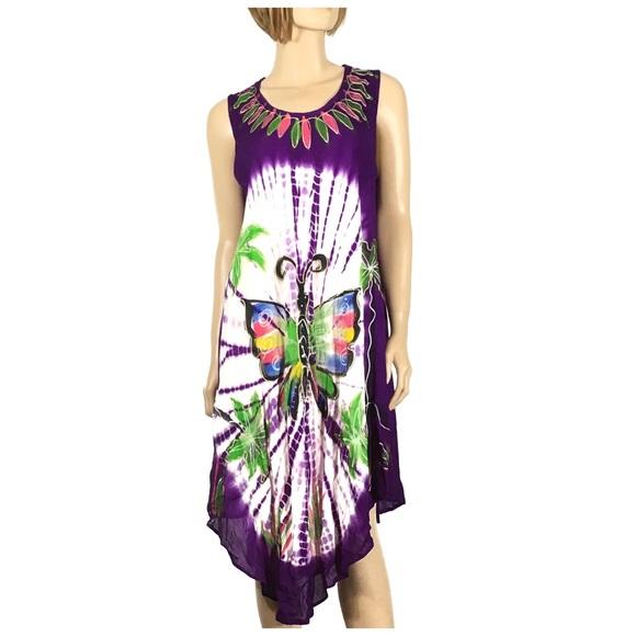 Beach Angels Dresses & Skirts - Beach Angels Butterfly Tie Dye Dress Swim Cover Up